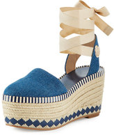 Tory Burch Dandy Denim Espadrille Wedge Sandal, Blue