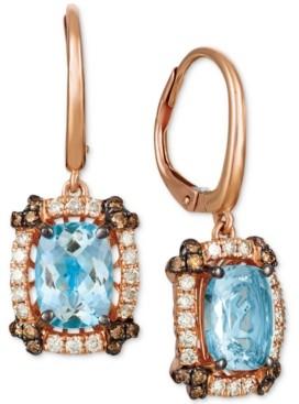 LeVian Le Vian Sea Blue Aquamarine (2 ct. t.w.) & Diamond (1/2 ct. t.w.) Drop Earrings in 14k Rose Gold
