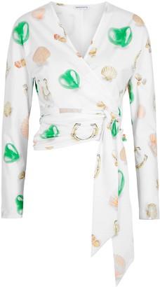 Saks Potts White Printed Jersey Wrap Top