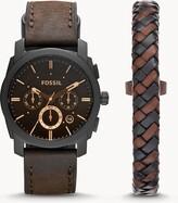 Fossil Machine Chronograph Dark Brown Leather Watch And Bracelet Box Set Jewelry