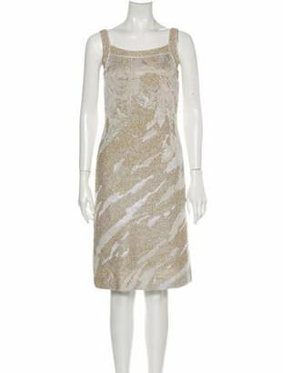 St. John Square Neckline Knee-Length Dress Gold