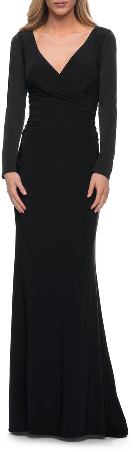 La Femme Long Sleeve Ruched Jersey Gown