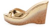 Jimmy Choo Perfume Cork Wedge Slide, Gold