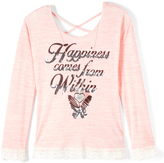 Beautees Pink 'Happiness Comes from Within' Scoop Neck Top - Girls