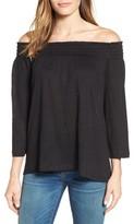 Petite Women's Caslon Off The Shoulder Linen Knit Top