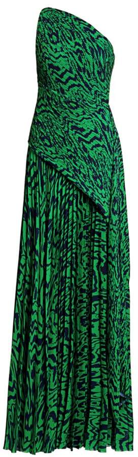 SOLACE London Emelyne Printed One-Shoulder Maxi Dress