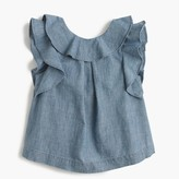J.Crew Girls' ruffle top in chambray