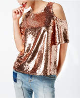INC International Concepts Sequined Cold-Shoulder Top, Created for Macy's