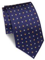 Brioni Flower & Square Printed Silk Tie