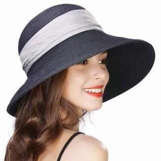 Cloche Jeff & Aimy Ladies Straw Sun Hat Wide Brim UV Protection Foldable Panama Fedora Summer Beach Accessories Fashion Sunhat 56-58CM Blue