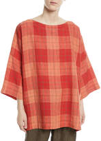eskandar 3/4-Sleeve Plaid Linen Tunic