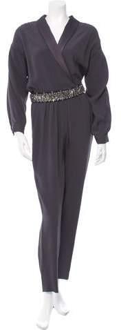 Jenny Packham Embellished Satin-Trimmed Jumpsuit