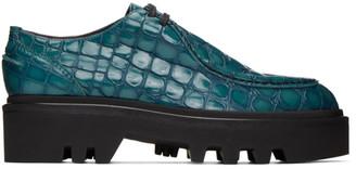 Dries Van Noten Blue Croc Derbys