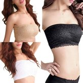 GOGO TEAM 3 Pack Stretch Lace Bandeau Tube Top Bra with Pad, Multiple Colors