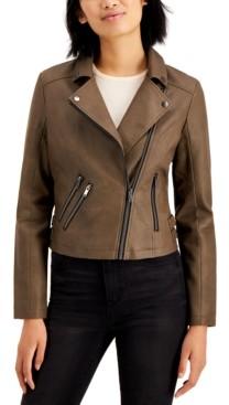 Coffee Shop CoffeeShop Juniors' Faux-Leather Moto Jacket
