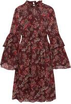 IRO Smocked Floral-print Georgette Dress - Burgundy