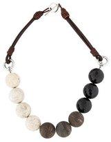 Brunello Cucinelli Onyx, Wood & Magnesite Bead Necklace