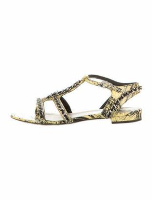 Chanel Interlocking CC Logo Snakeskin T-Strap Sandals Yellow