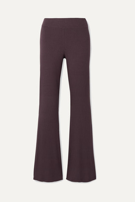 Calé cale - Angelique Ribbed Stretch-jersey Flared Pants - Grape