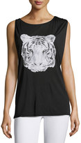 Haute Hippie Cowl-Neck Tiger Tank, Black/Grey