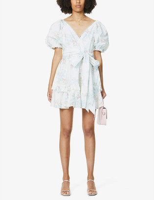 LoveShackFancy Zelle floral-print puff-sleeve cotton mini dress