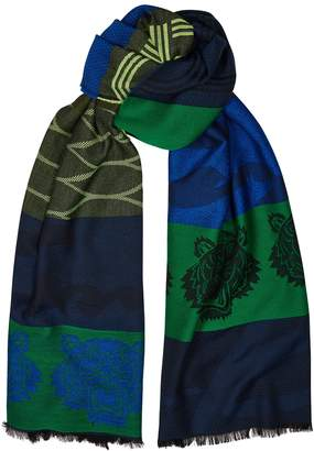Kenzo Green And Blue Tiger-jacquard Scarf