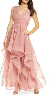 Sequin Hearts High/Low Hem Gown