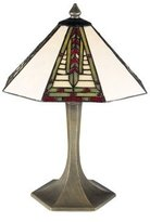 Dale Tiffany Lamps 7585/532 Mini Dana Table Lamp, Antique Brass and Art Glass Shade