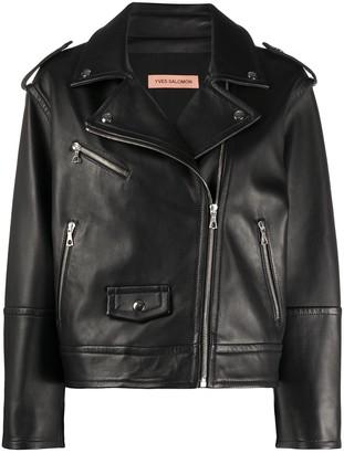 Yves Salomon Zipped Biker Jacket