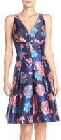 Aidan Mattox Women's Floral Print Mikado Fit & Flare Dress