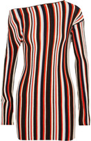 Jacquemus One-shoulder Striped Wool Mini Dress - Red