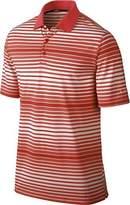 Nike Men's Dri-Fit Key Bold Heather Stripe Golf Polo Shirt-Crimson-Small