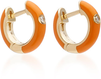 Ef Collection 14K Gold and Diamond Orange Enamel Huggie Earrings