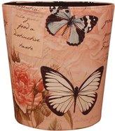 Wastebasket, Yamix European Style Household Home Office Waste Bin Paper Basket Trash Can Dustbin Garbage Bin Waste-paper Basket Ashcan Ashbin without Lid - Butterfly Rose Pattern