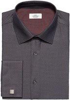 Grey Textured Double Cuff Regular Fit Shirt