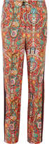 Etro Satin-trimmed Printed Silk-twill Wide-leg Pants - Red