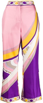 Emilio Pucci Abstract Print Silk Cropped Trousers