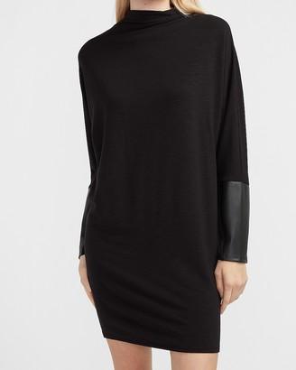 Express Mock Neck Vegan Leather Sleeve Shift Dress