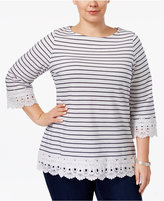 Charter Club Plus Size Cotton Crochet-Trim Top, Only at Macy's