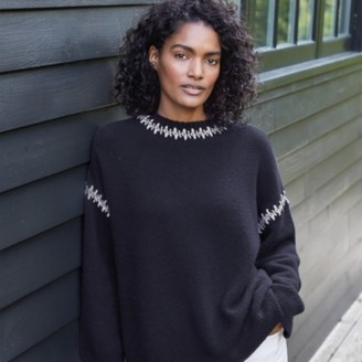 The White Company Contrast Stitch-Detail Jumper with Alpaca, Navy, Extra Large