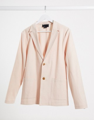 ASOS DESIGN skinny casual linen mix suit jacket in pink