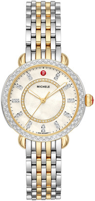 Michele Sidney Classic Diamond Two-Tone Watch, Silver/Gold