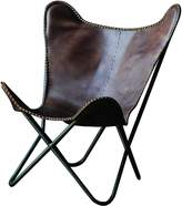 Creative Co-op Leather and Metal Butterfly Chair