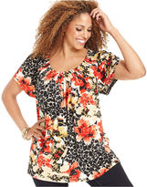 Style&Co. Plus Size Top, Short-Sleeve Floral-Print Pleated