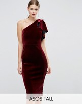 ASOS Tall ASOS TALL PREMIUM Velvet One Shoulder Ruffle Midi Dress
