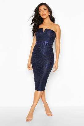 boohoo Lace Bandeau Midi Dress