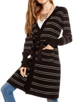 Chaser Women's Cotton Lurex Rib Belted Long Hooded Cardigan Sweater