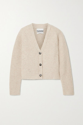 Ganni Cropped Ribbed Wool-blend Cardigan - Beige