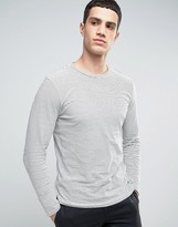 Selected Long Sleeve Striped Top with Seam Panel