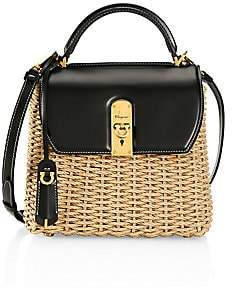 Salvatore Ferragamo Women's Medium Boxyz Leather-Trimmed Straw Top Handle Bag